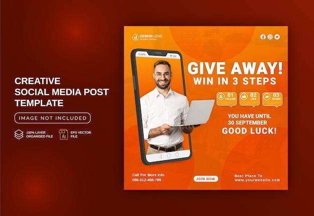 Rozdaj wygraj w trzech krokach szablon postu w mediach społecznościowych na instagramie