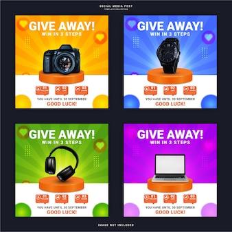 Rozdaj wygrany produkt w trzech krokach baner instagram story szablon postu w mediach społecznościowych