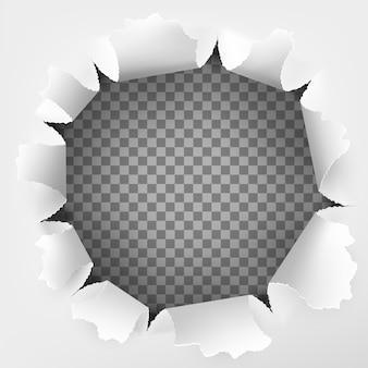 Rozdarta dziura i efekt wyrwany z papieru.