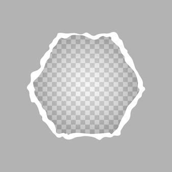 Rozdarty kawałek papieru w kształcie kwadratu, dziura w kartce papieru na przezroczystym tle. ilustracja wektorowa.