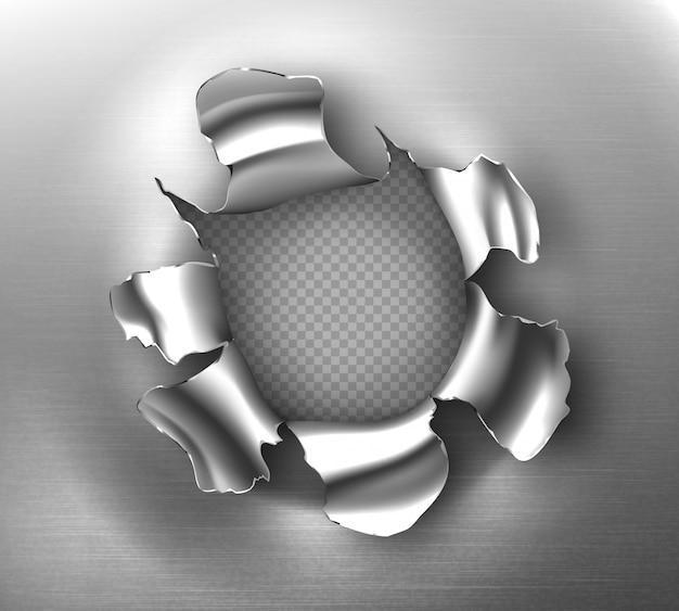 Rozdarty otwór, poszarpane okrągłe pęknięcie w blasze stalowej. realistyczna makieta zgranych krawędzi metalowej przerwy, dziura po kuli na przezroczystym tle. uszkodzona metalowa strona od wystrzału lub eksplozji