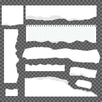 Rozdarty papier kreskówka zestaw na białym tle na przezroczystym tle.
