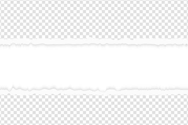 Rozdarty papier z podartymi krawędziami. kwadratowy zgrany poziomy szary papier z pustą przestrzenią na tekst. zgrać szablon transparent biały łza.