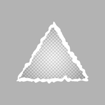 Rozdarty trójkątny papier, dziura w kartce papieru na przezroczystym tle. ilustracja wektorowa.