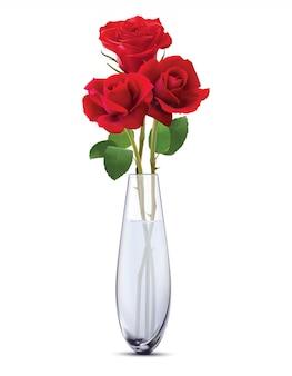 Róże w szklanym wazonie, na białym tle. realistyczne ilustracji wektorowych 3d