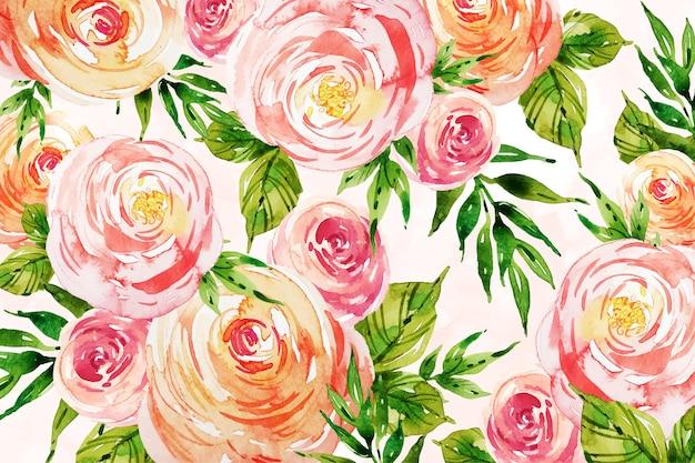 Róże z liśćmi akwarela tła projekt