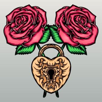 Róże z miłosnym zamkiem.