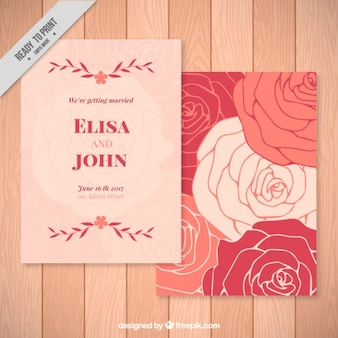 Róże zaproszenia ślubne