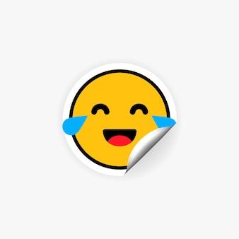 Roześmiana naklejka emoji ze łzami. zabawny emotikon. żart. nastrój
