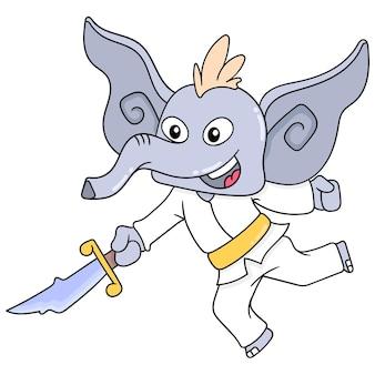 Roześmiany słoń ćwiczył sztuki walki z ostrym mieczem, ilustracja wektorowa. doodle ikona obrazu kawaii.