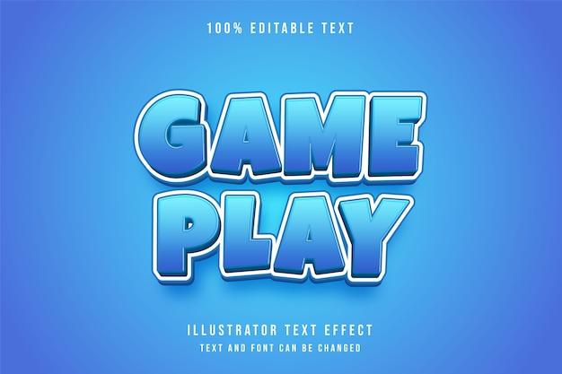 Rozgrywka, edytowalny efekt tekstowy 3d w stylu komiksowym z niebieską gradacją
