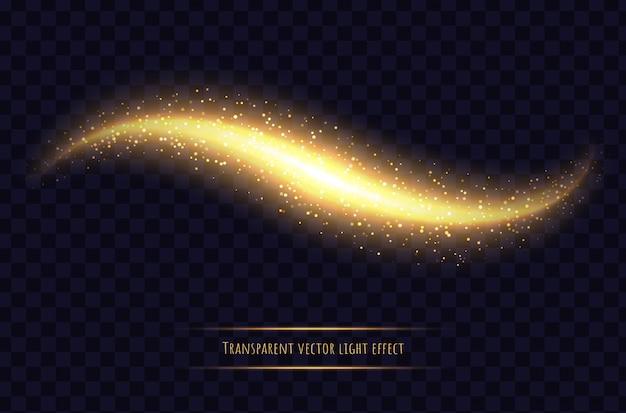 Rozjarzona fala z błyskami, złoty efekt świetlny na białym tle. lśniąca magia rozproszyła gwiezdny pył. streszczenie ilustracji wektorowych.