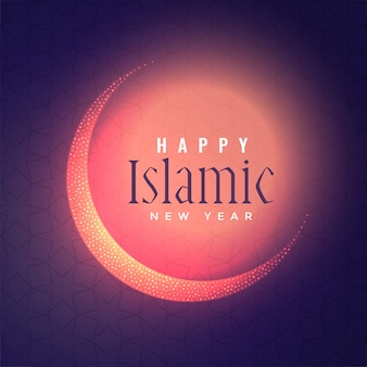 Rozjarzony islamski nowego roku tło z błyszczącą księżyc