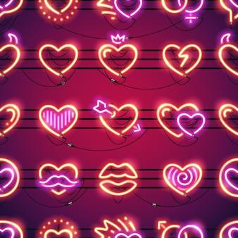Rozjarzony neonowych serc bezszwowy tło