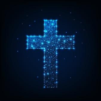 Rozjarzony niski poligonalny religijny chrześcijański krzyż.