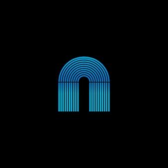 Rozjarzony szafa grająca neonowe paski tworzące literę a. szablon logo