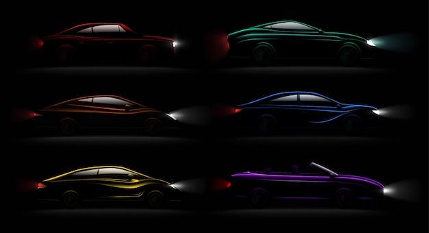 Rozjaśnione samochody w ciemności realistyczne 6 luksusowych urzekających metalicznych, odbijających kolory świateł samochodowych