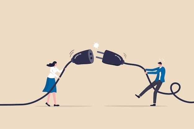 Rozłączony biznes, zerwana komunikacja, 404 lub odłączenie od mediów społecznościowych lub ekranu monitora, młody mężczyzna i młoda dorosła kobieta wyciągają wtyczkę z gniazdka elektrycznego, aby odłączyć się od internetu.