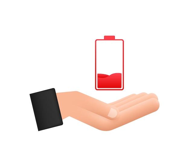 Rozładowany akumulator rękami. zestaw wskaźników poziomu naładowania baterii. ilustracja wektorowa.