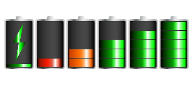 Rozładowany i w pełni naładowany smartfon na baterie