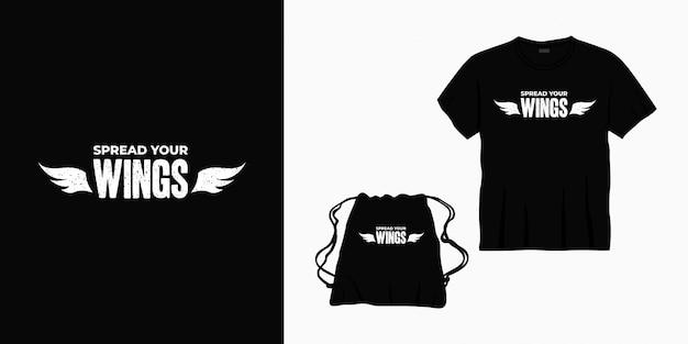 Rozłóż skrzydła typografia projekt napisu na koszulkę, torbę lub towar