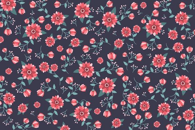 Rozmieszczenie ditsy kwiatów i liści w tle