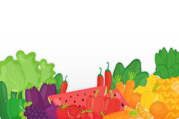 Rozmieszczenie monochromatycznych owoców i warzyw w tle