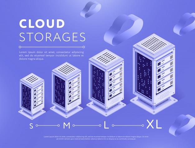 Rozmieszczone centra serwerów do przechowywania chmur