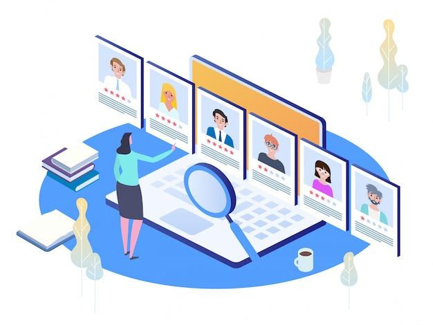 Rozmowa kwalifikacyjna, agencja rekrutacyjna. izometryczna koncepcja zatrudniania i rekrutacji.