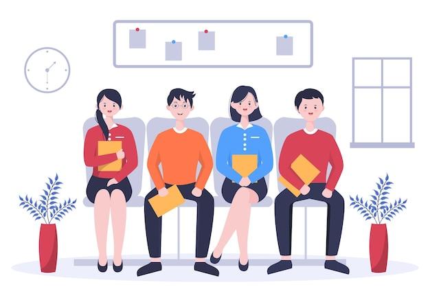 Rozmowa kwalifikacyjna, kandydat i hr manager. idea zatrudnienia i zatrudniania, biznes mężczyzna lub kobieta przy stole, ilustracji wektorowych do rozmowy, kariera, koncepcja zasobów ludzkich