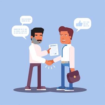 Rozmowa kwalifikacyjna lub ilustracja kreskówka partnerstwa, uścisk dłoni dwóch mężczyzn