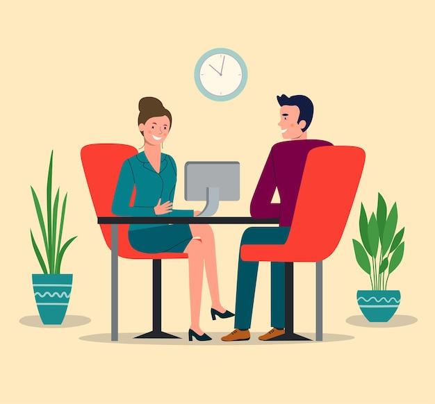 Rozmowa kwalifikacyjna. mężczyzna i kobieta przy biurowym stole. ilustracja wektorowa