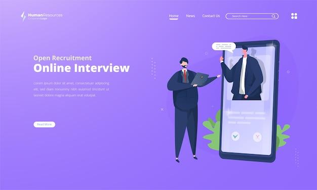 Rozmowa kwalifikacyjna online dla ilustracji rekrutacji otwartej na stronie docelowej