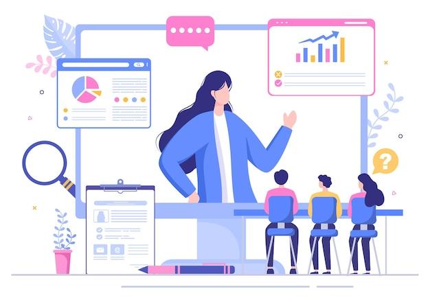 Rozmowa kwalifikacyjna online service lub platforma, kandydat i hr manager. biznes mężczyzna lub kobieta przy stole, ilustracji wektorowych do rozmowy, kariery, koncepcji zasobów ludzkich