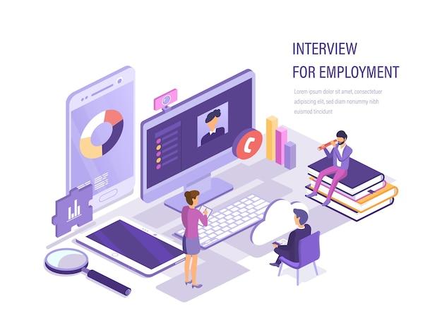 Rozmowa kwalifikacyjna w sprawie zatrudnienia za pośrednictwem kamery internetowej.