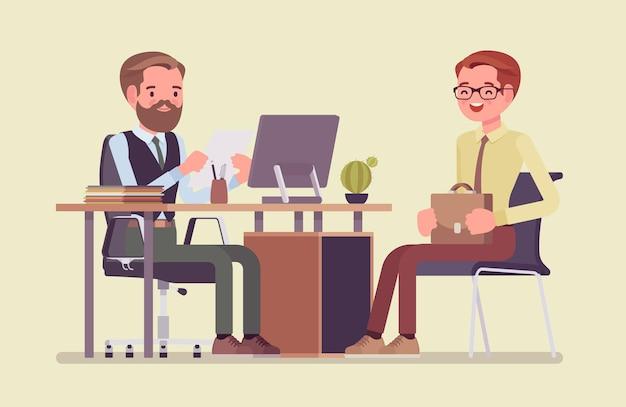 Rozmowa kwalifikacyjna z hr rozmawiająca z kandydatem do pracy