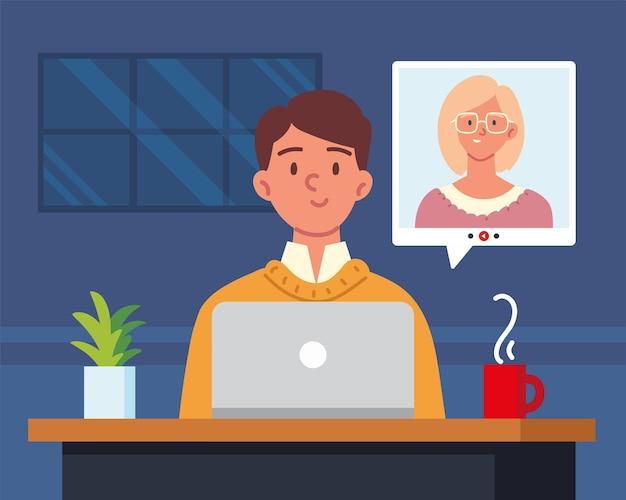 Rozmowa Kwalifikacyjna Zdalnie Przez Połączenie Wideo Premium Wektorów
