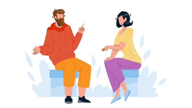 Rozmowa między młodym mężczyzną i kobietą wektor. chłopiec i dziewczynka siedzi na krześle mają rozmowę biznesową razem. postacie ludzie dyskutujący na spotkanie płaskie ilustracja kreskówka
