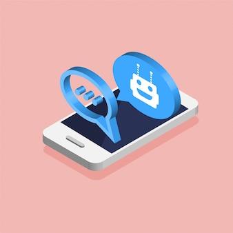 Rozmowa między robotem a człowiekiem. koncepcja chatbot. izometryczny smartfon z awatarem robota. nowoczesny design bąbelków wiadomości i okien dialogowych. ilustracja.