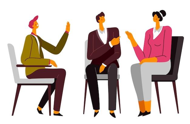 Rozmowa pary z psychologiem na konsultacji. żona i mąż rozwiązują problemy rodzinne i kłopoty w związku. dyskusja i komunikacja ze specjalistycznym wektorem w stylu płaskim