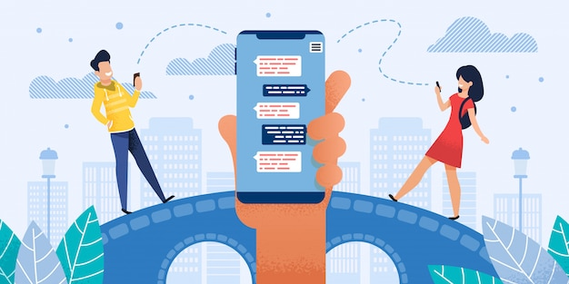 Rozmowa w mobile messenger flat