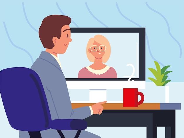 Rozmowa z pracownikiem podczas rozmowy wideo
