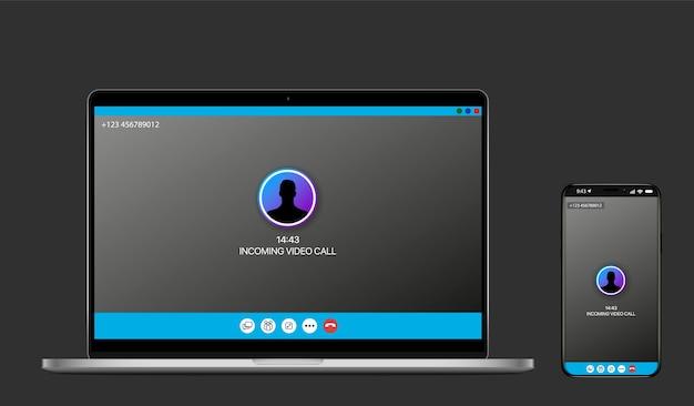 Rozmowy wideo na smartfonie i laptopie. konferencja wideo. spotkania online. kwarantanna.