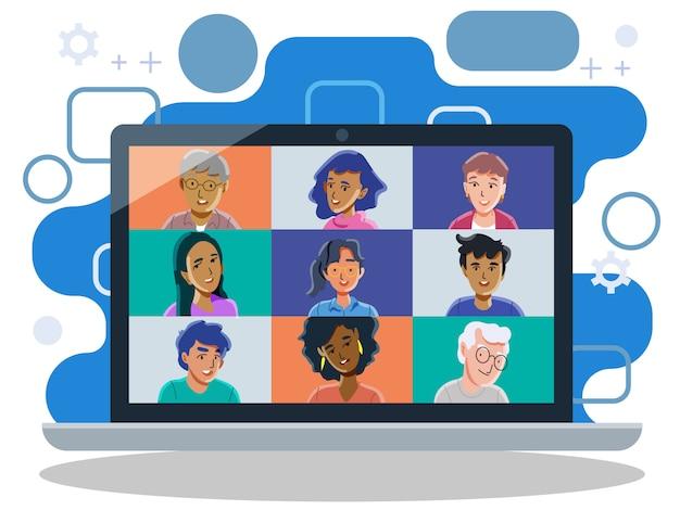 Rozmowy wideo z przyjaciółmi. grupowe połączenie wideo. połączenie konferencyjne. wektor i zilustrowanie.
