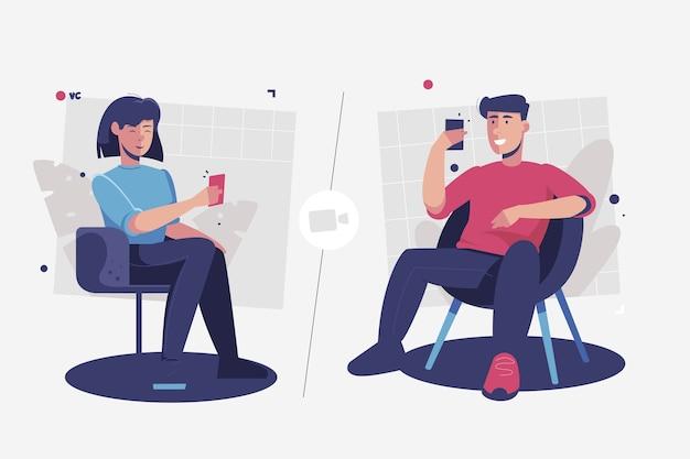 Rozmowy wideo znajomych na telefonach