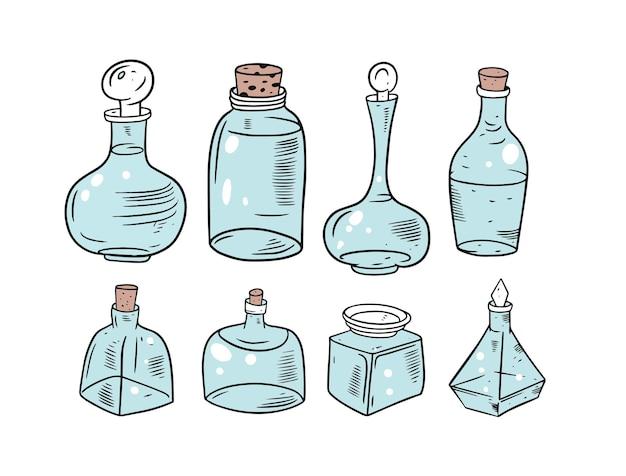 Rozmycie kolorowe szklane słoiki zestaw na białym tle