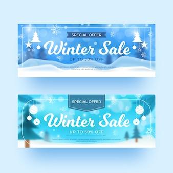 Rozmyte banery sprzedaży zimowej zestaw