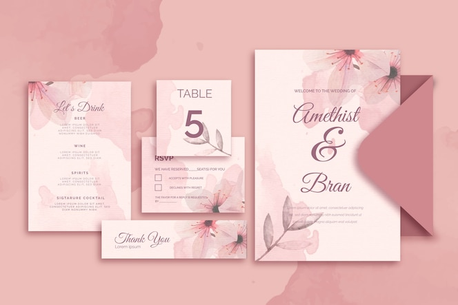 Różna papeteria na ślub w różowych odcieniach