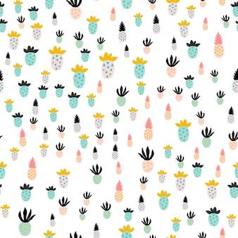Różne abstrakcyjne ananasy. kreatywny modny wzór z ananasami. ręcznie rysowane ilustracji wektorowych w pastelowych kolorach - niebieski, różowy, żółty