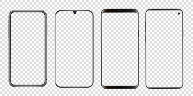 Różne abstrakcyjne nowoczesne smartfony przezroczyste.